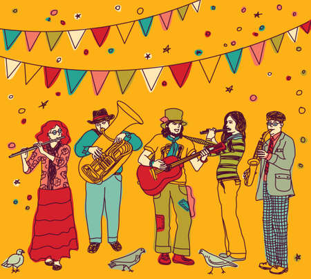 performing arts event: Group of musicians figures and birds and festival flags. Color vector illustration. Eps 8.