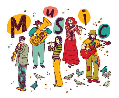 Musicians figures in full height separated on white. Color vector illustration. Eps 8.