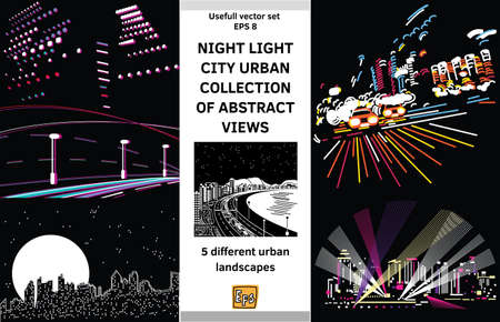 Collection of night live scenes. Color vector illustration. Eps 8.  イラスト・ベクター素材