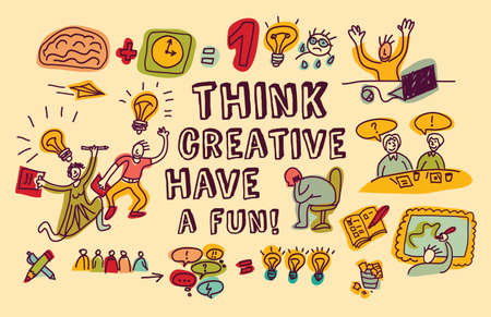 Doodles people and objects about fun creative business. Color vector illustration. EPS 8.