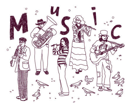 separated: Doodles musicians figures in full height separated on white. Ink vector illustration. EPS 8 Illustration