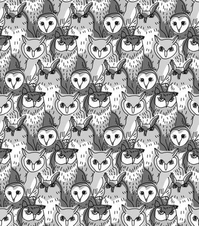 gray scale: Seamless pattern with birds. Gray scale vector illustration. EPS8.