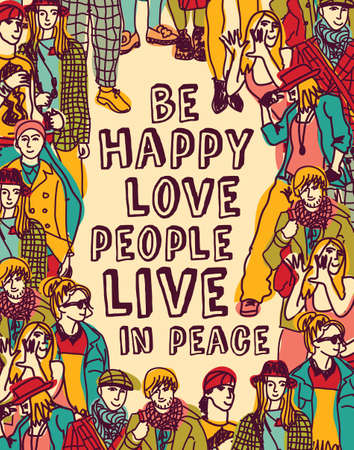 love life: Group people with positive idea. Color vector illustration. EPS8. Illustration