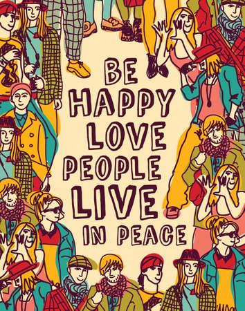 gruppe von menschen: Gruppe Menschen mit positiven Gedanken. Farbe Vektor-Illustration. EPS8.