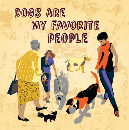 relations: People and dogs relations. Color vector illustration. EPS8