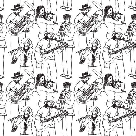 performing arts event: Wallpaper with crowd musicians. Black and white vector illustration. EPS 8.