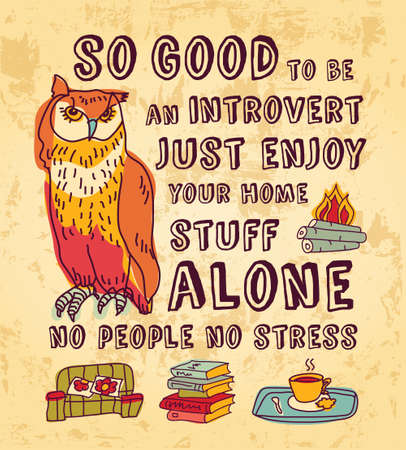introvert: Concept art about happy introvert. Color vector illustration. EPS8. Stock Photo