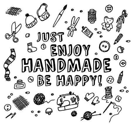 creative arts: Inspiration sign and handmade objects. Black and white vector illustration. EPS 8
