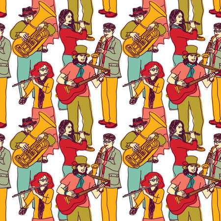 performing: Wallpaper with crowd musicians. Color vector illustration. EPS 8. Illustration