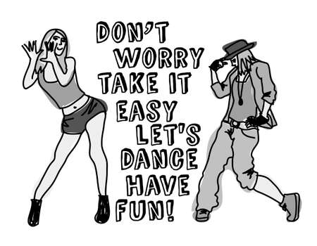 dancing: Dancing women with positive sign. Monochrome vector illustration.