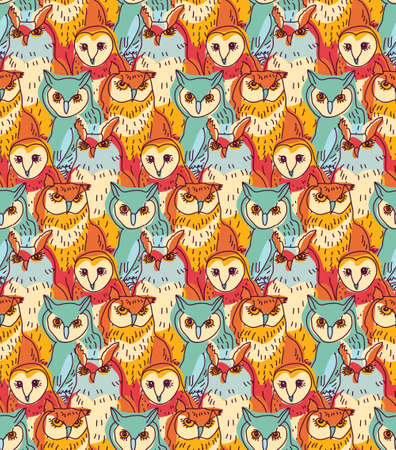 Seamless pattern with big group owls. Color vector illustration.