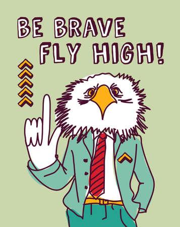 advise: Smart eagle giving advise. Ink hand drawn color vector illustration. EPS8.
