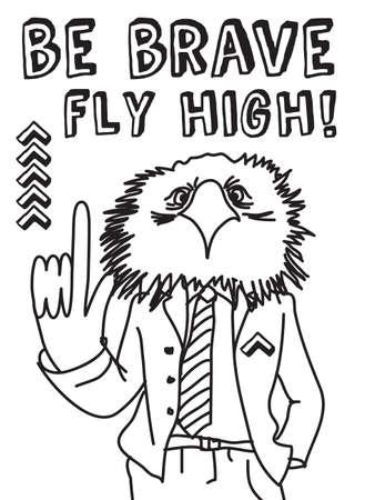 advise: Smart eagle giving advise. Hand drawn black and white vector illustration.  Illustration