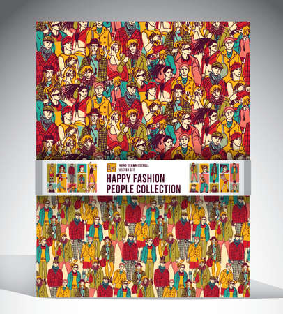 concert audience: Big set with two seamless pattern, sixteen full length figures and face icons. Ink hand drawn color vector illustration.