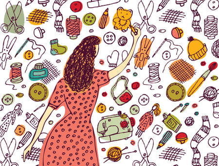 Young woman painting handmade objects and icons. Color vector illustration.   イラスト・ベクター素材