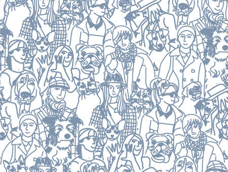 group of pets: Big group of pets and people. Seamless pattern. Gray vector illustration. EPS8 Illustration