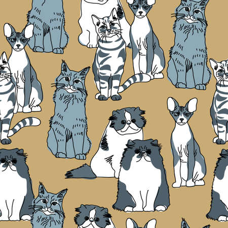Group of gray and white cats. Color vector illustration. EPS8 Illustration