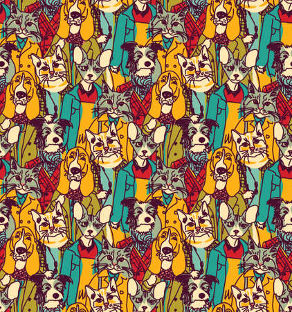 cute dogs: Big group of pets looking like people. Seamless pattern. Color vector illustration. EPS8