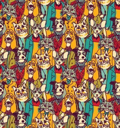 Grote groep van huisdieren kijken als mensen. Naadloos patroon. Kleur vector illustratie. EPS8 Stock Illustratie