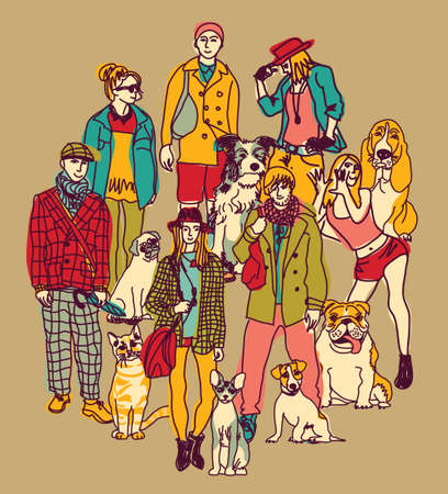 Group of pets and people on brown background. Color vector illustration. EPS8