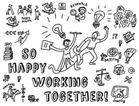 team cooperation: Doodles creative couple with business objects and icons isolate on white. Black and white hand drawn vector  illustration. EPS8. Illustration