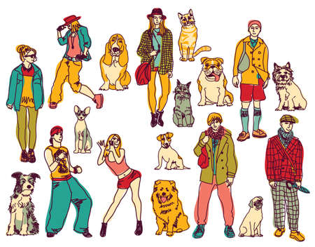 Set of pets and people isolated on white background. Color vector illustration. EPS8