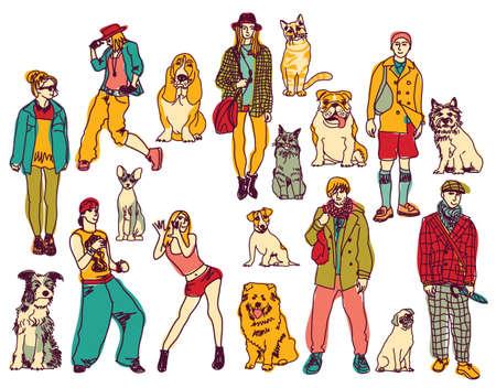 Définir des animaux de compagnie et les personnes isolées sur fond blanc. Vecteur illustration en couleur. EPS8 Banque d'images - 44482655