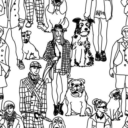 Big group of pets with people. Seamless pattern. Black and white vector illustration. 向量圖像