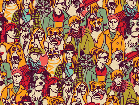 group of pets: Big group of pets and people. Seamless pattern. Color vector illustration.