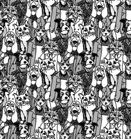 group of pets: Big group of pets looking like people. Seamless pattern. Monochrome vector illustration. EPS8 Illustration