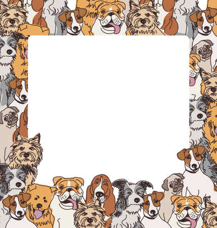 animal border: Big group of different dogs. Border and the empty place. Color vector illustration. EPS 8.