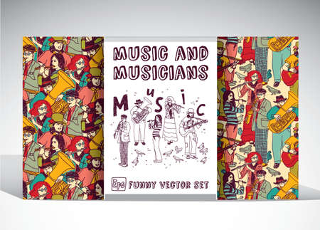 performing: Big set with  group of musicians. Color vector illustration.