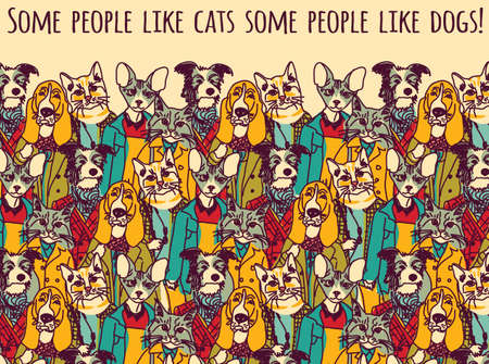 pet cat: Crowd of pets looking like people with sign. Color vector illustration.