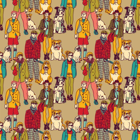 group of pets: Big group of pets with people. Seamless pattern. Color vector illustration. Illustration