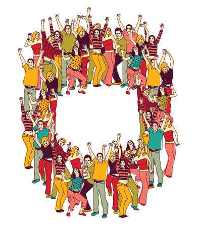 concert audience: Frame with group active happy people team and empty place for text. Vector illustration. EPS 8