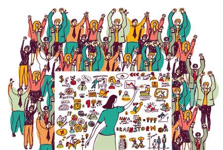 unrecognizable: Big group business people in presentation. Color vector illustration.