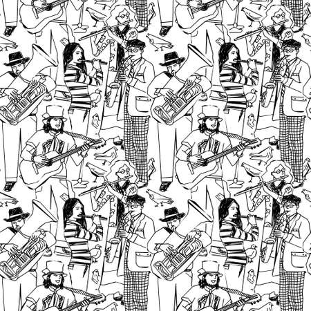 performing arts event: Wallpaper with street musicians and birds. Black and white vector illustration. Illustration