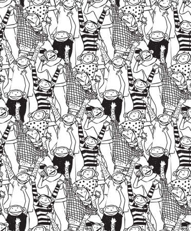 white smile: Crowd of happy monkey. Monochrome vector illustration. EPS8 Illustration