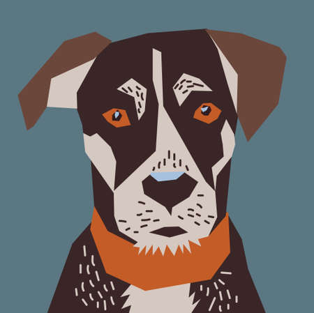 Head of dog. Color vector illustration. EPS8