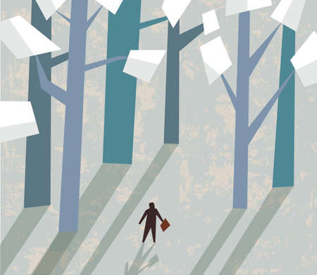 business figures: Small business figures and big trees. Color vector illustration. EPS8