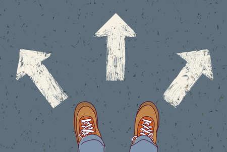 El hombre de pie en la carretera. ilustración vectorial de color. EPS8
