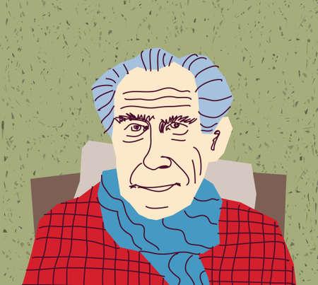 gaffer: Senior portrait character. Color vector illustration. EPS8