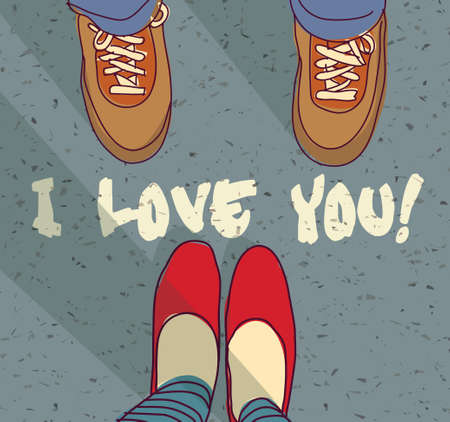 girl in love: Woman and man foots and sign I love you. Color vector illustration. EPS8