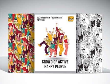 Set with group of happy people and two seamless patterns. Color vector illustration. EPS8