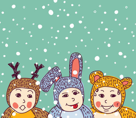 place for children: Baby animals costume winter and snow. Group of happy children and snow with empty place for your text. Color greeting card vector illustration. EPS8 Illustration
