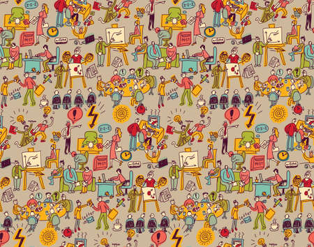 business life: Office life seamless pattern business people. Wallpaper with working business people scenes. Color vector illustration. EPS8 Illustration
