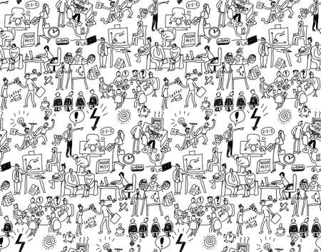 office life: Office life seamless pattern business people black and white. Wallpaper with working business people scenes. Monochrome vector illustration. EPS8