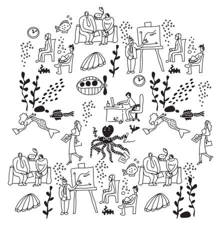 nature vector: Underwater business people office life black and white. Business people work in nature. Monochrome vector illustration. EPS8