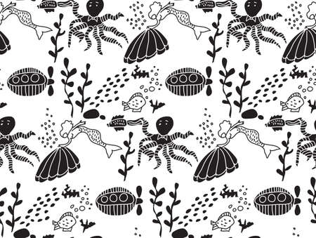 sealife: Underwater sealife animal monochrome seamless pattern. Sea animals and objects wallpaper. Black and white vector illustration. EPS8