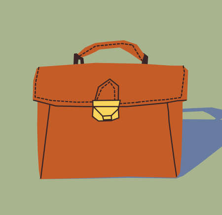 business briefcase: Business briefcase object icon. Flat bag with shadow. Color vector illustration. EPS8. Illustration